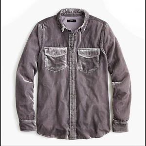 J Crew Classic Fit Shirt Drapey Velvet NWT $110